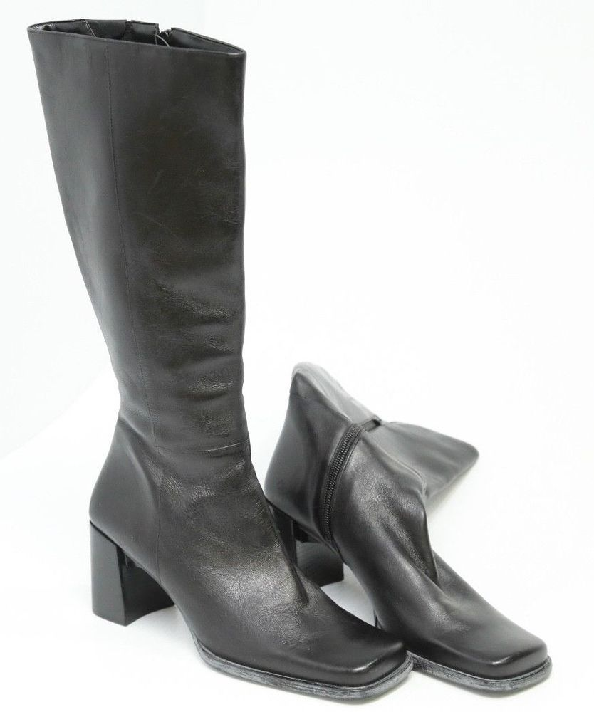 2702cf8b860 Women s Nine West Ardon Black Leather Square Toe Knee High Boots Size 8 M   NineWest  KneeHighBoots