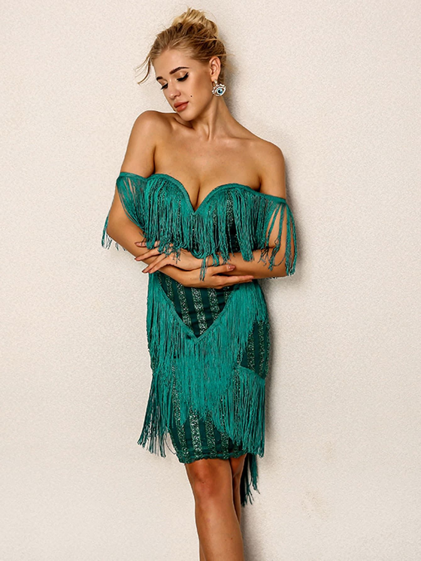 Sexy Zipper and Fringe and Contrast Sequin Bodycon Off the Shoulder  Sleeveless Natural Green Short Length Layered Fringe Embellished Off Shoulder  Dress 6529f5540