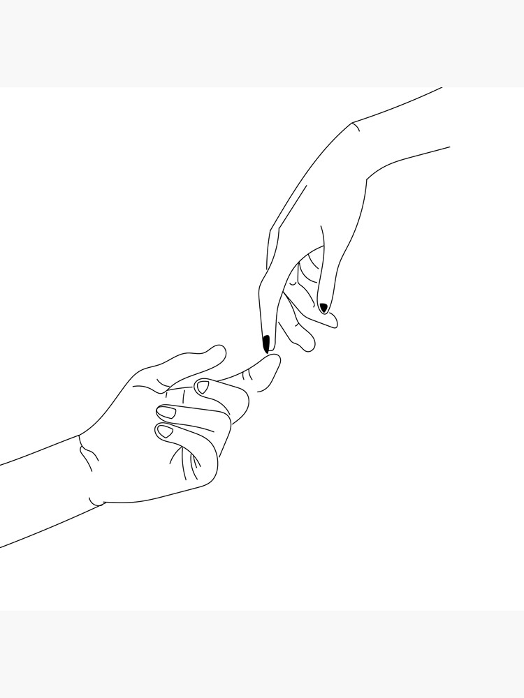 Touching Hands Reaching Out Art Print By Baissane In 2021 Hand Art Hands Reaching Out Line Art Drawings