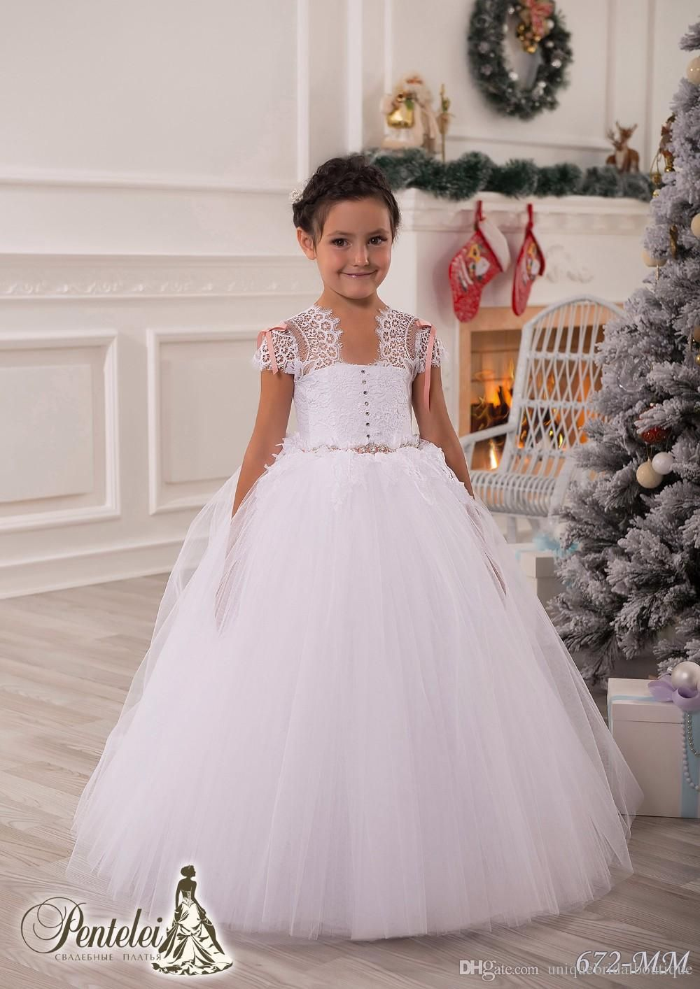2016 In Stock Cheap Flower Girls Dresses under 50 with Cap Sleeves ...