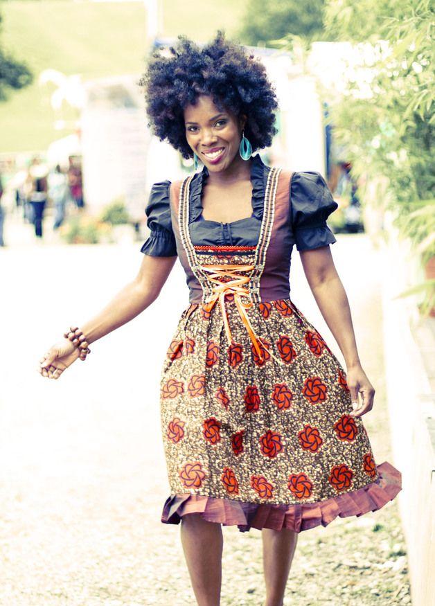 "afro-dirndl ""togo & more"" braun / orange | dirndl"
