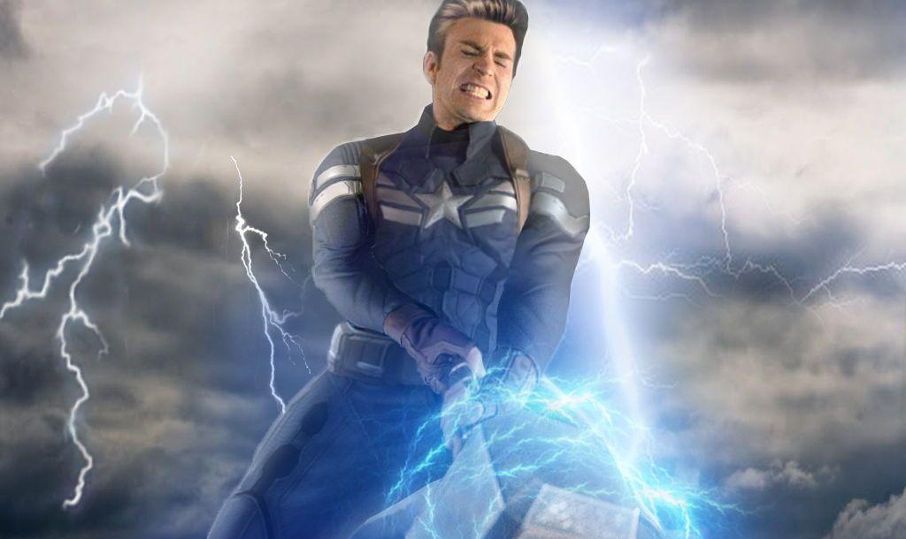 Avengers endgame captain america lift thors hammer