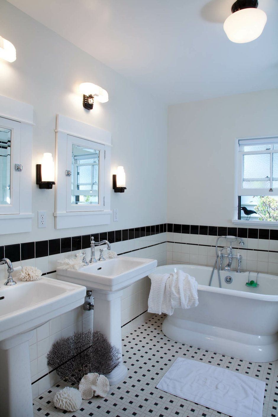 The carefully researched new bathroom has period-correct black and ...