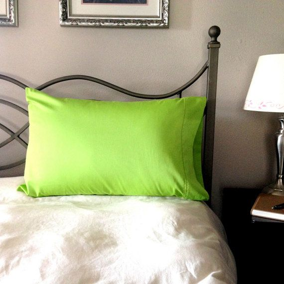 Organic Cotton Pillowcase - Standard/Queen Sized - Silky Soft with Satin Stitch Accent - Lime Green