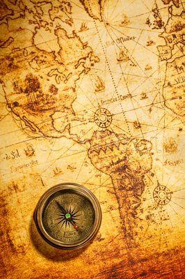 Foto Stock Vintage Bussola Antigo Mundo Mapa Vida