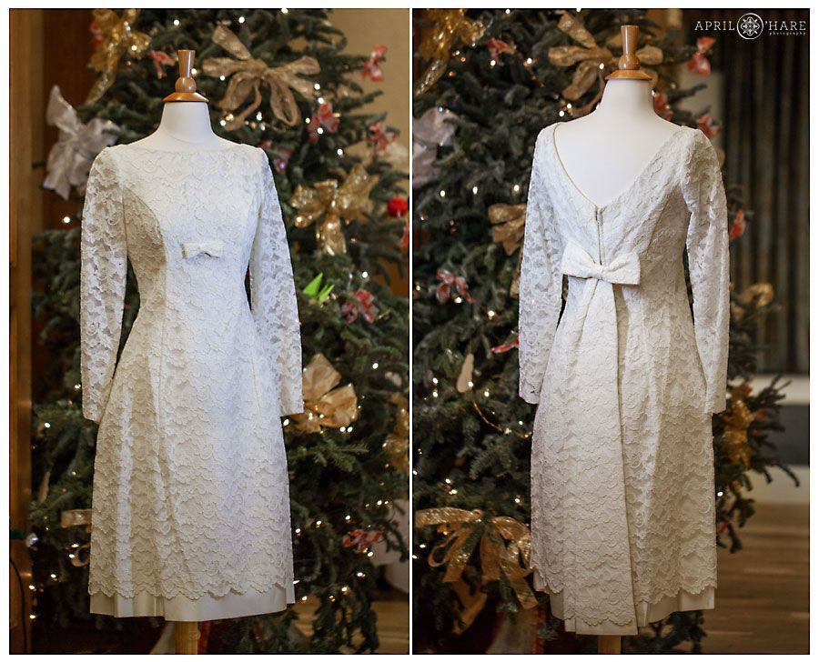 A vintage lace wedding dress with long sleeves at a Golden Wedding ...
