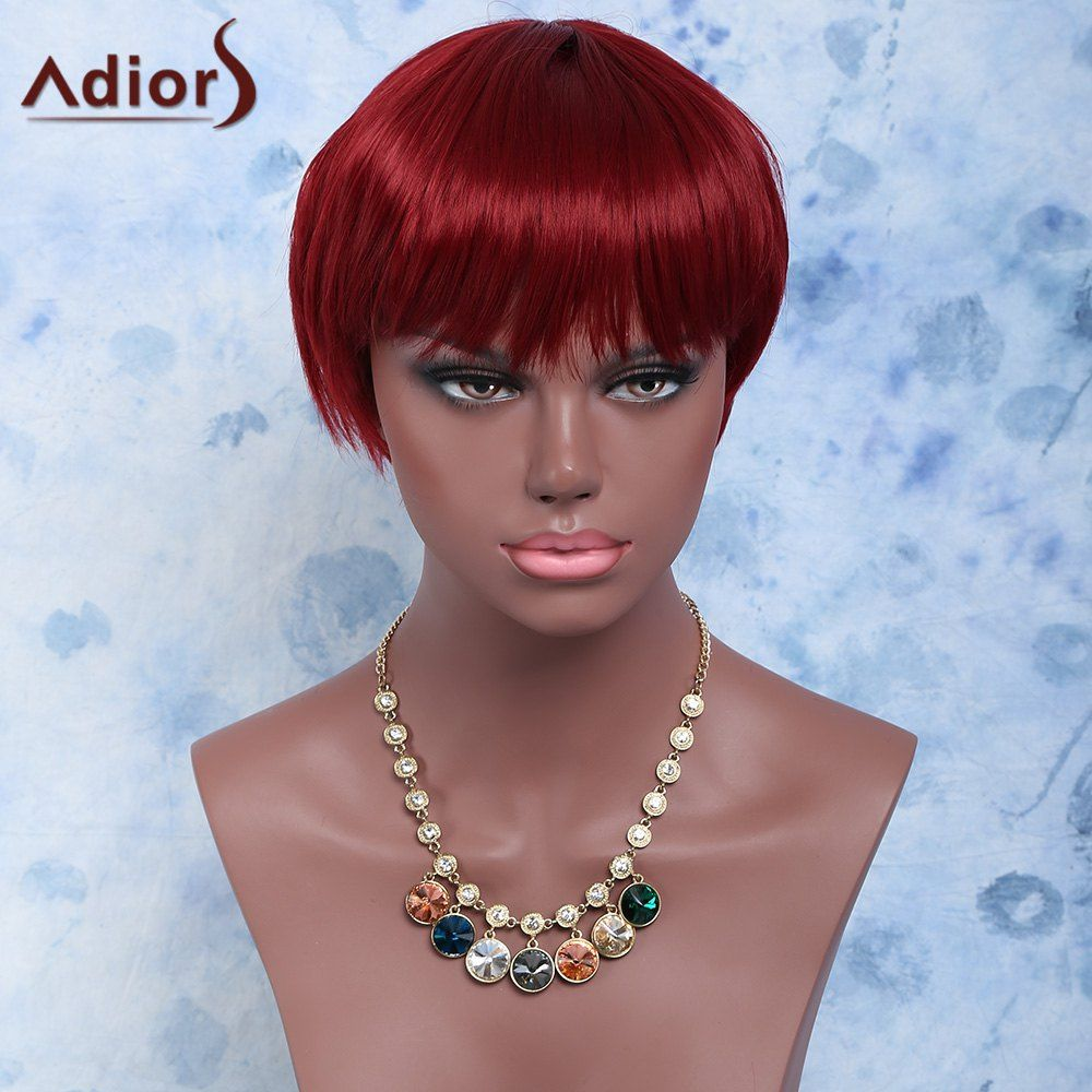 Short straight full bang capless synthetic wig hats watches