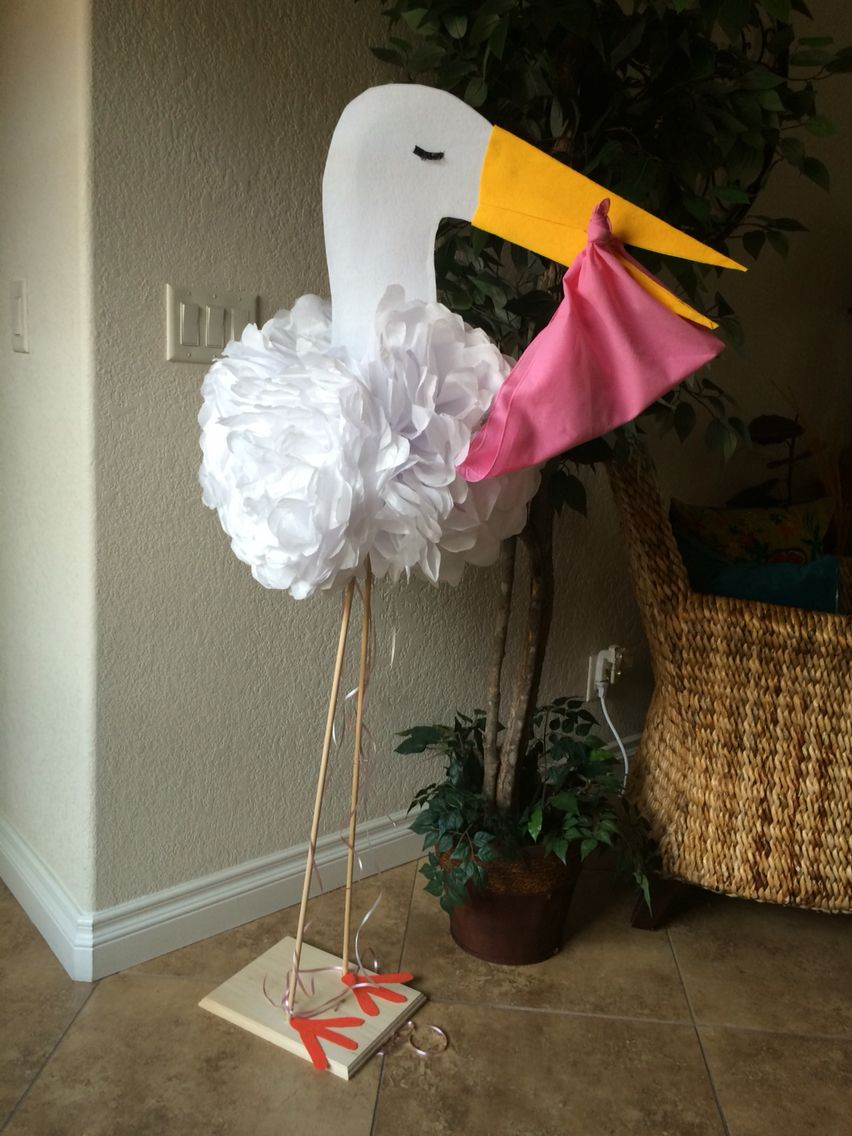 Diy Baby Shower Stork Use White Tissue Paper For Feathers Or Body