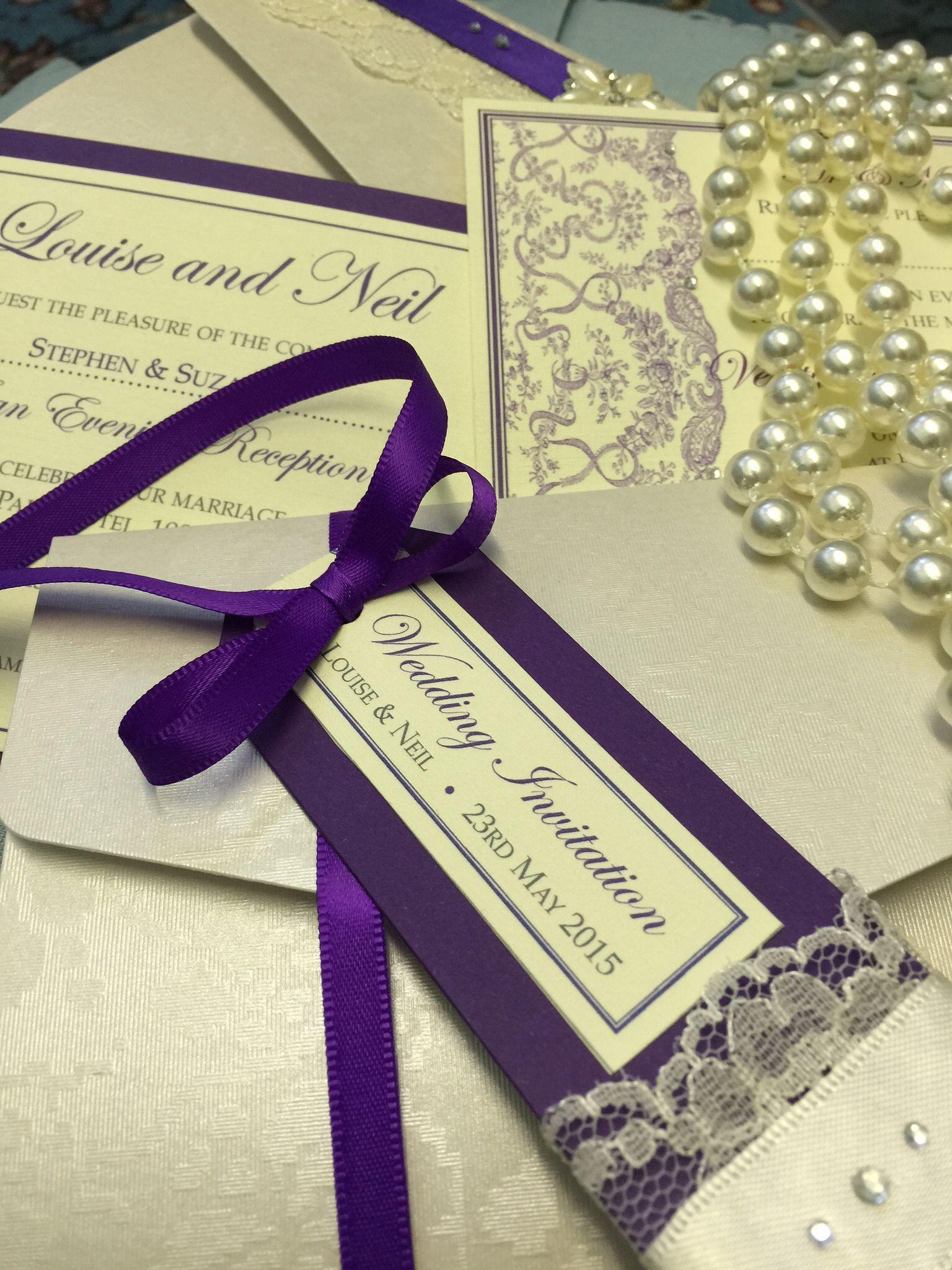 Pocketfold wedding invitations London: luxury bespoke purple ...