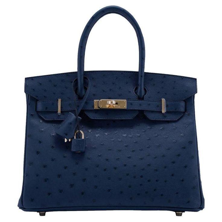 Photo of Hermes handbag Birkin 30 ostrich leather 7L Blue de Malte Color GHW 2016 – Her …