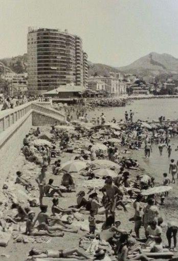 Estrecha playa de La Malagueta, años 60 Málaga, Spain malaga
