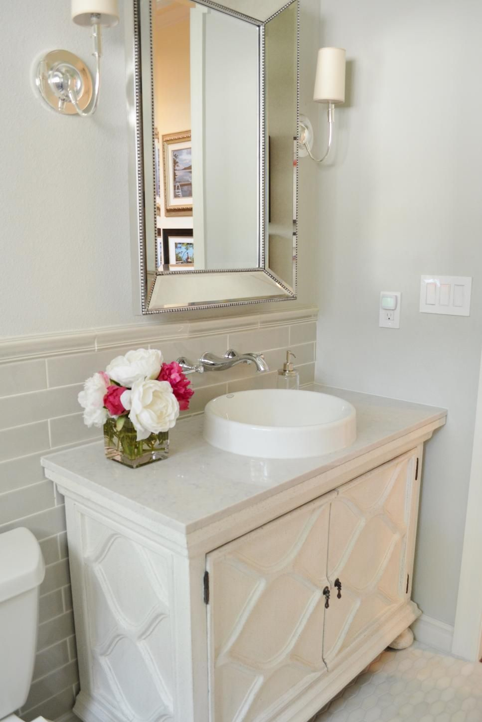 Bathroom Makeover For Under $1000 before-and-after bathroom remodels on a budget | marble floor