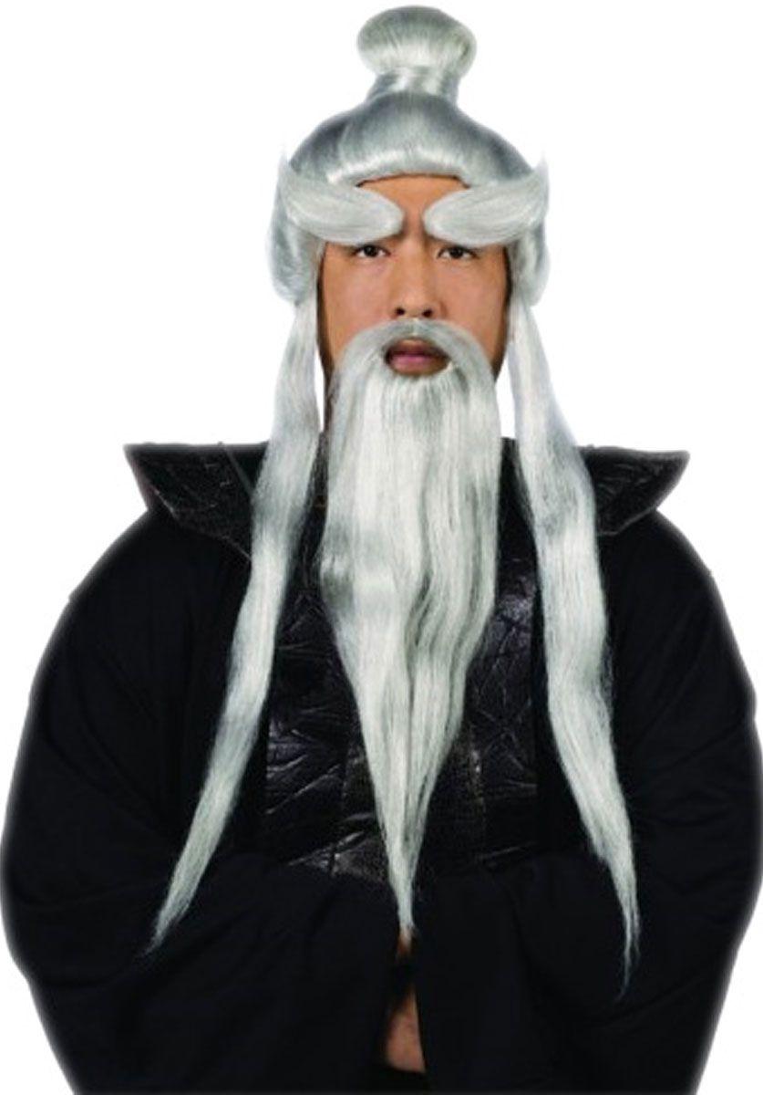 Long Chinese Oriental Wizard Old Man Beard Fancy Dress Adult White Black Grey