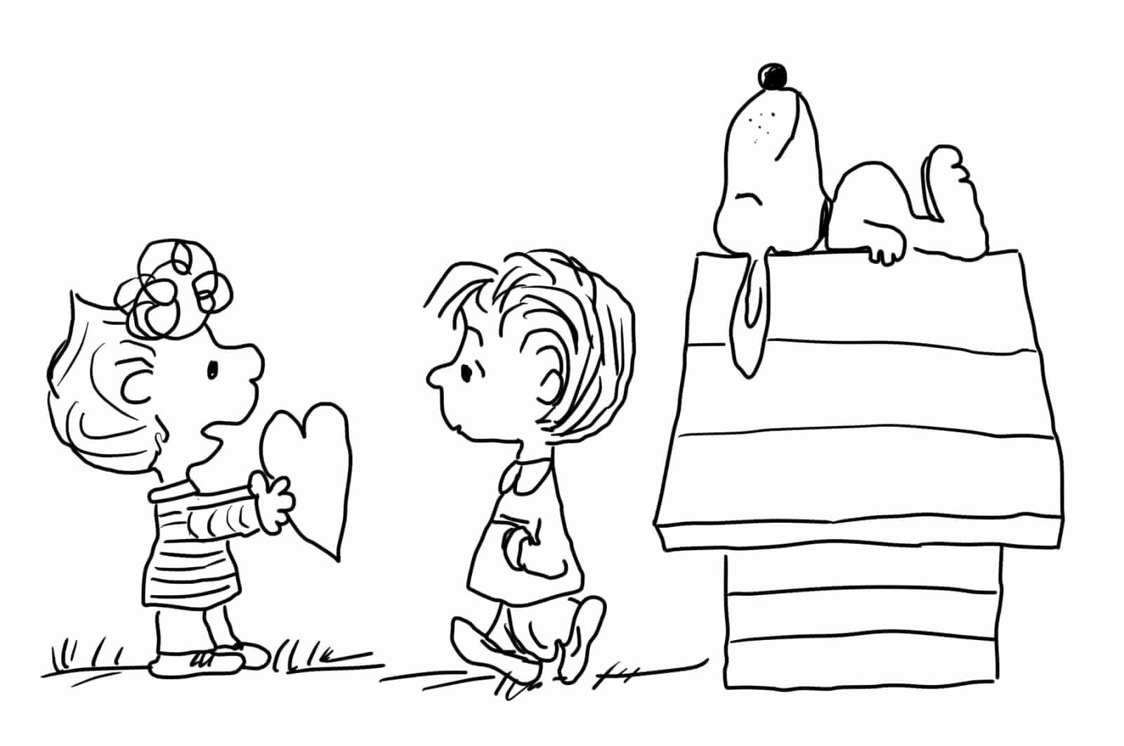 Snoopy Valentine Coloring Page In