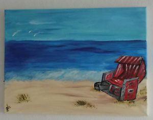 Strandkorb gemalt  Acrylbild-auf-Leinwand-Keilrahmen-Strandkorb-40-x-30-cm | kunst ...