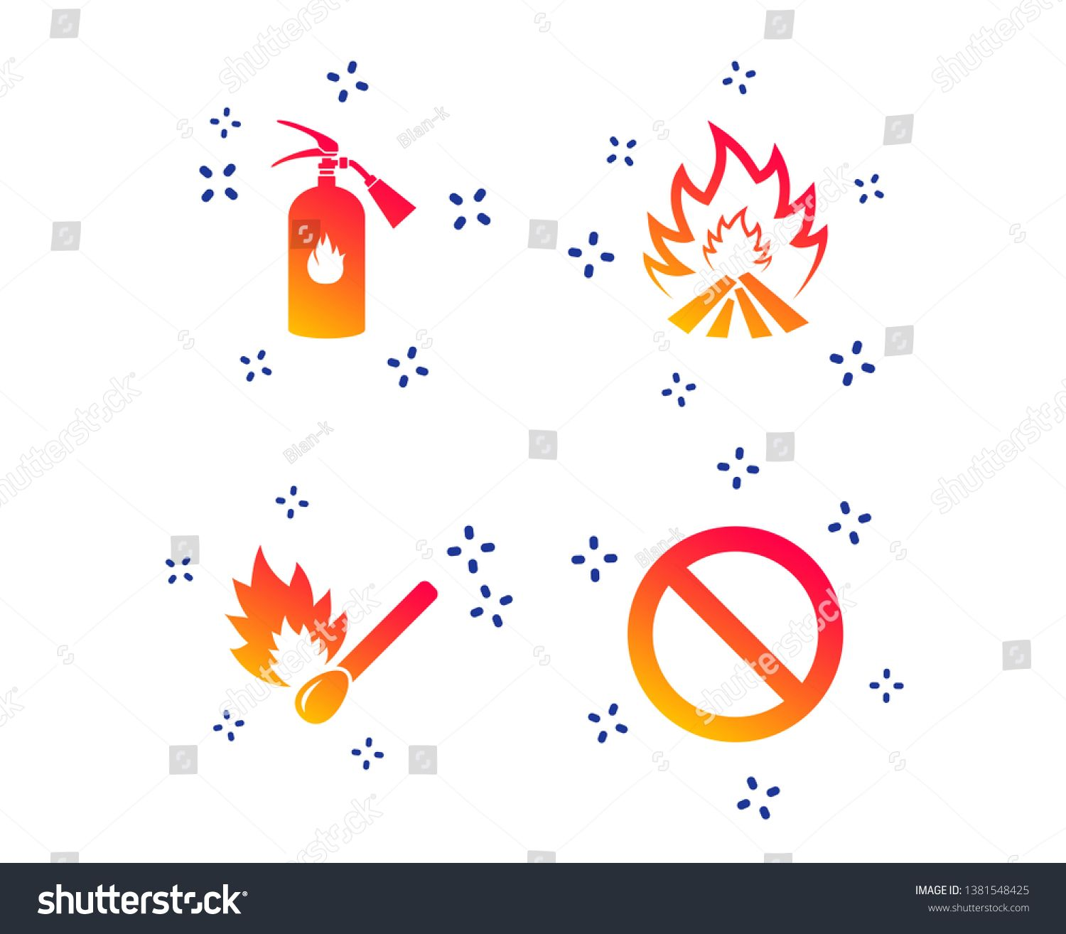 Fire flame icons. Fire extinguisher sign. Prohibition stop