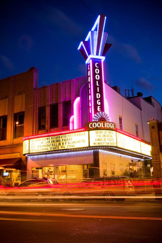 coolidge corner movie theater movie theater decor cinema print neon sign art movie lover. Black Bedroom Furniture Sets. Home Design Ideas