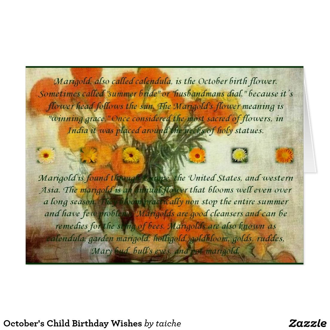 Octobers Child Birthday Wishes Card Greeting Cards Pinterest
