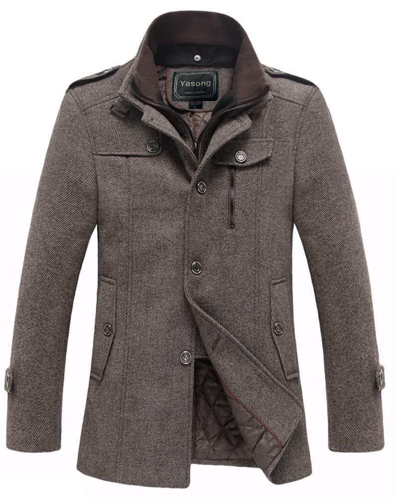 Yasong Men's Cotton Padded Stand Collar Wind Coat Wool