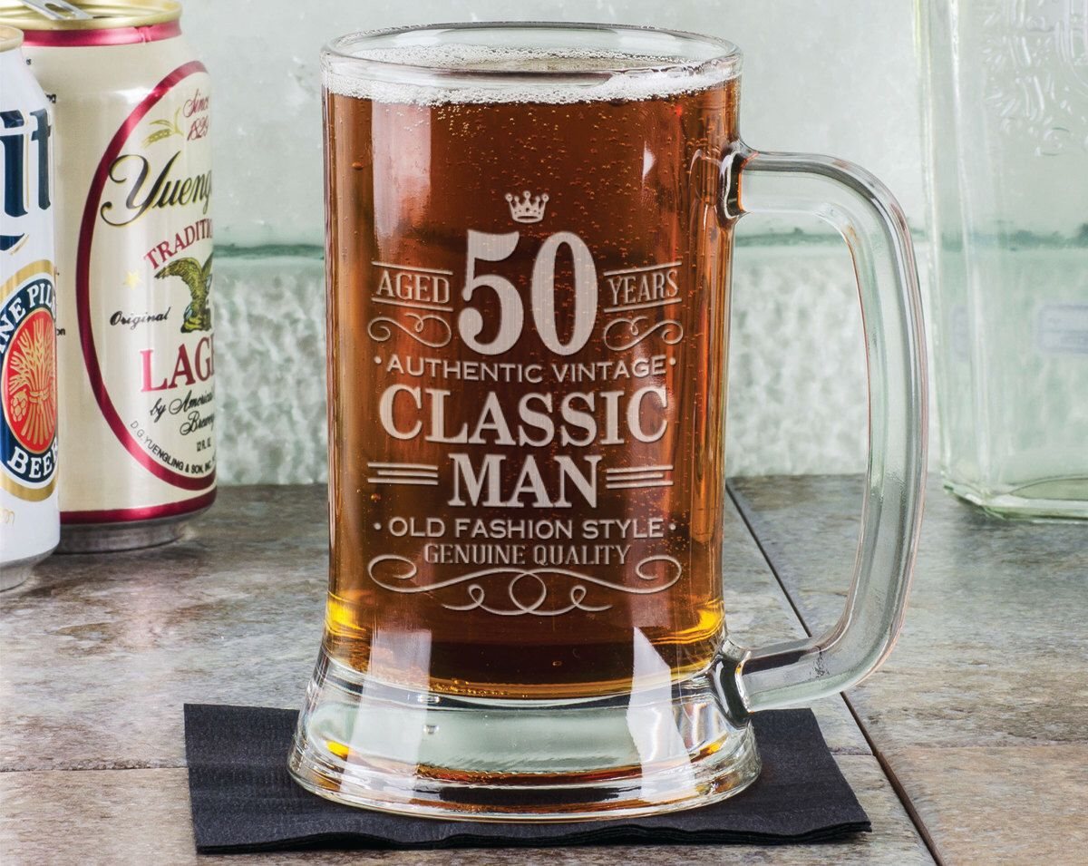 50th Birthday Clic Man 16oz Beer Mug Stein Gl Engraved Father Gift Idea Etched