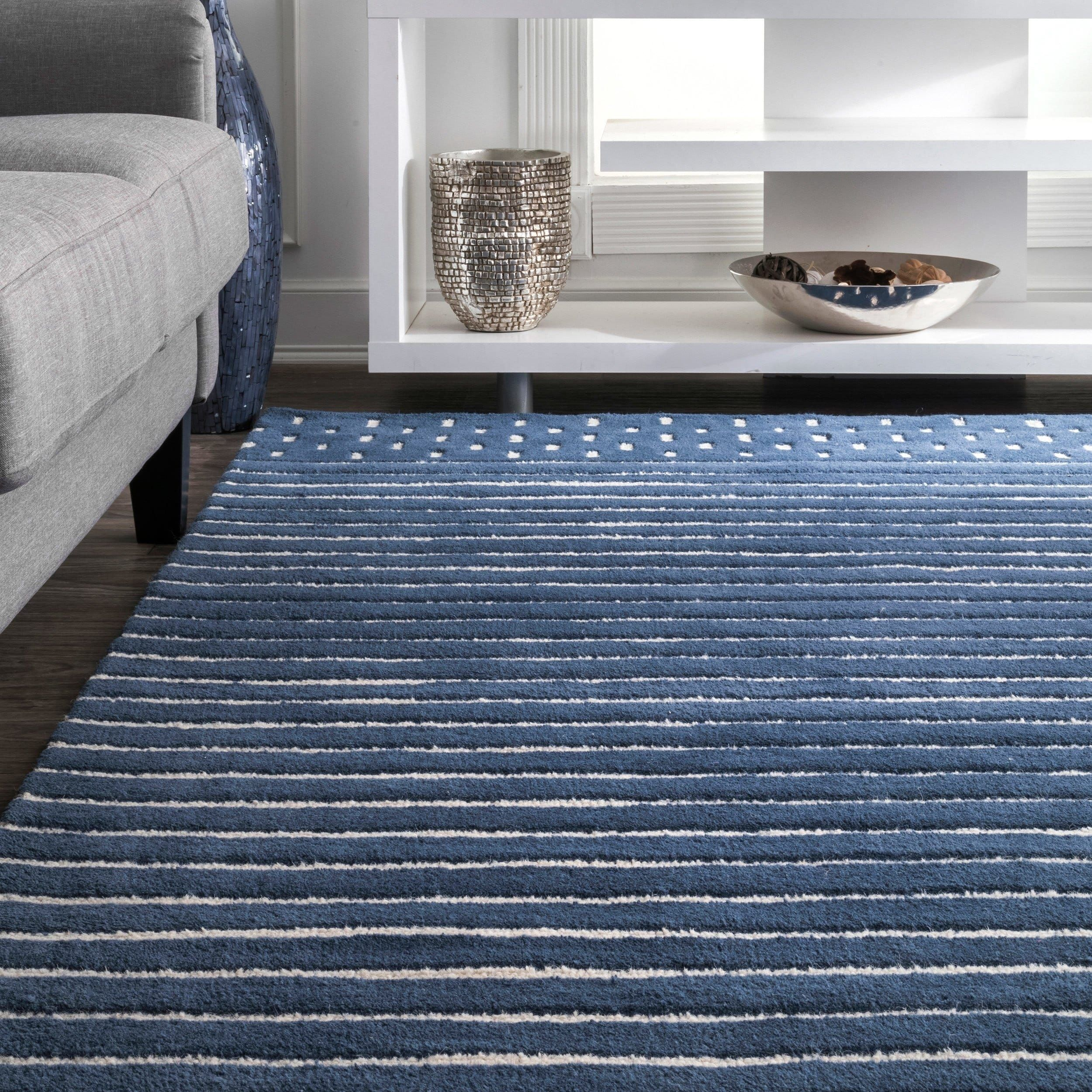 Nuloom Coastal Solid Stripes Navy Off White Wool Area Rug 3 X 5 3 X 5 Blue Products In 2019 Wool Area Rugs Striped Rug Wool Rug