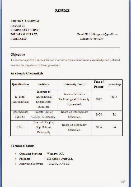 entry level resume samples - Resume Format For Freshers B Tech Aeronautical