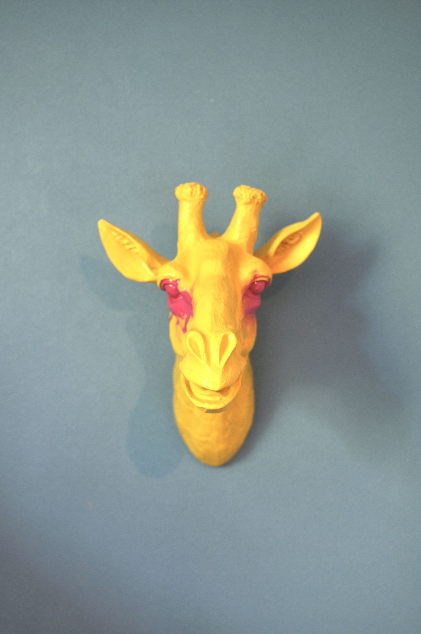 Quirky and Eclectic Crazy Art Yellow Giraffe Wall Mount, Animal ...