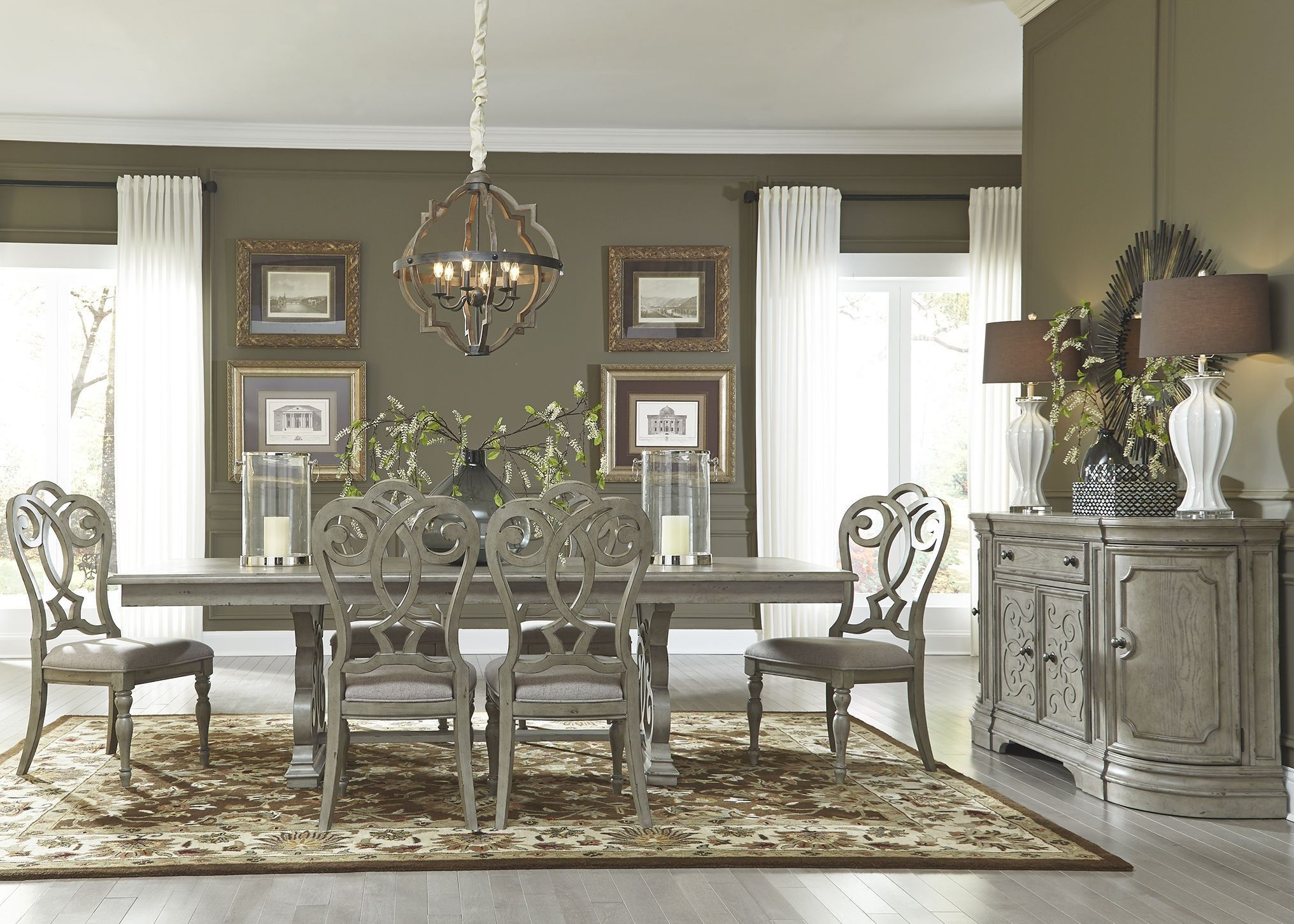 Grand Estates Gray Taupe Trestle Dining Room Set Interior