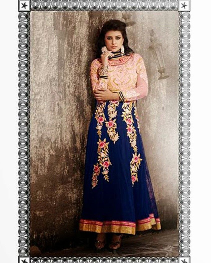 Blue embroidered anarkali suit   1. Blue net embroidered anarkali suit2. Floral embroidered pink yoke and sleeves3. Blue net flare with embroidered floral