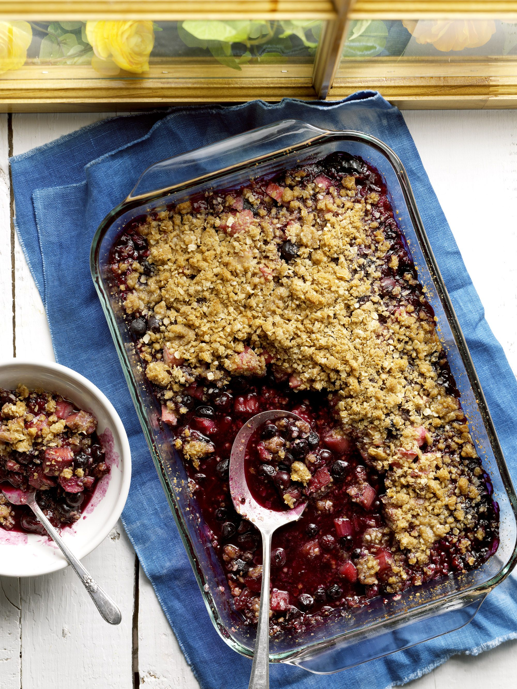 BlueberryRhubarb Crumble Recipe Blueberry rhubarb