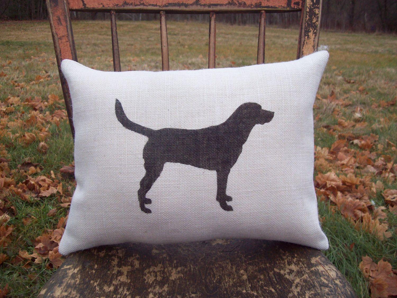 Labrador Retriever Silhouette Decorative Burlap Pillow / Dog ...