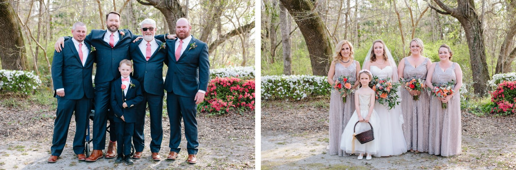 Bridal Party With Colorful Azaleas And Bright Bouquets Givhans Ferry State Park Wedding Charleston