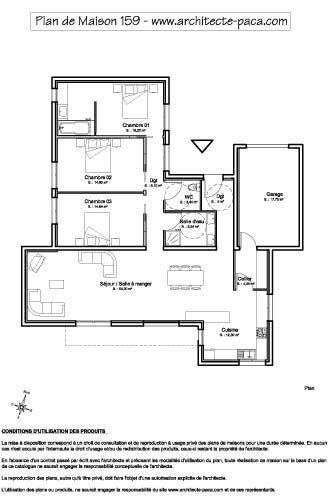 plan de maison plein pied gratuit a telecharger Maisons et déco - plan de maison en l de plain pied gratuit