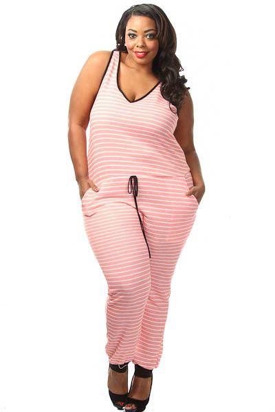 Plus Size Striped Drawstring Jumpsuit