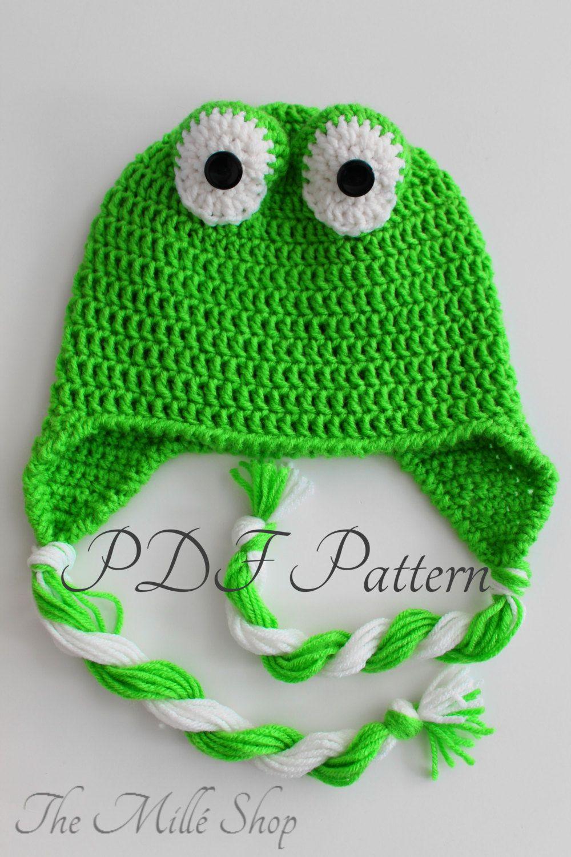 CROCHET PATTERN- Frog Hat Baby Infant Toddler Preschool Child Teen Adult  Boy Girl Man Women 0349f118e3