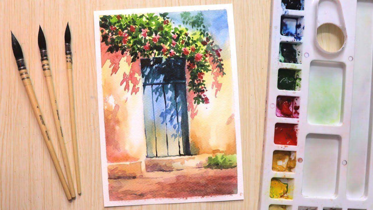 Watercolor painting for beginners beautiful flower tree and simple door -  Y…   Watercolor painting for beginners, Watercolor paintings, Watercolor  flowers paintings