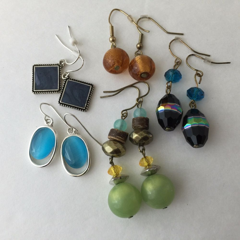 Lot Of Five Pair Costume Earrings Some Gold Tone, Some Silver Tone All  Earrings Are New, Never Used Two Pair Have No Back Stopper Pieces