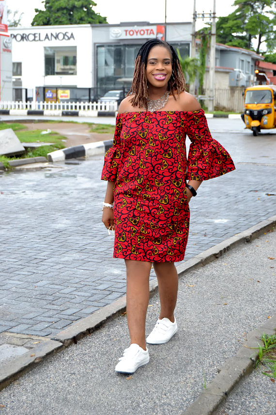 136414e5e52 Oma Off-Shoulder Bell Sleeves Ankara Dress  Quality Ankara Print  Short  Ankara Dress  African Print