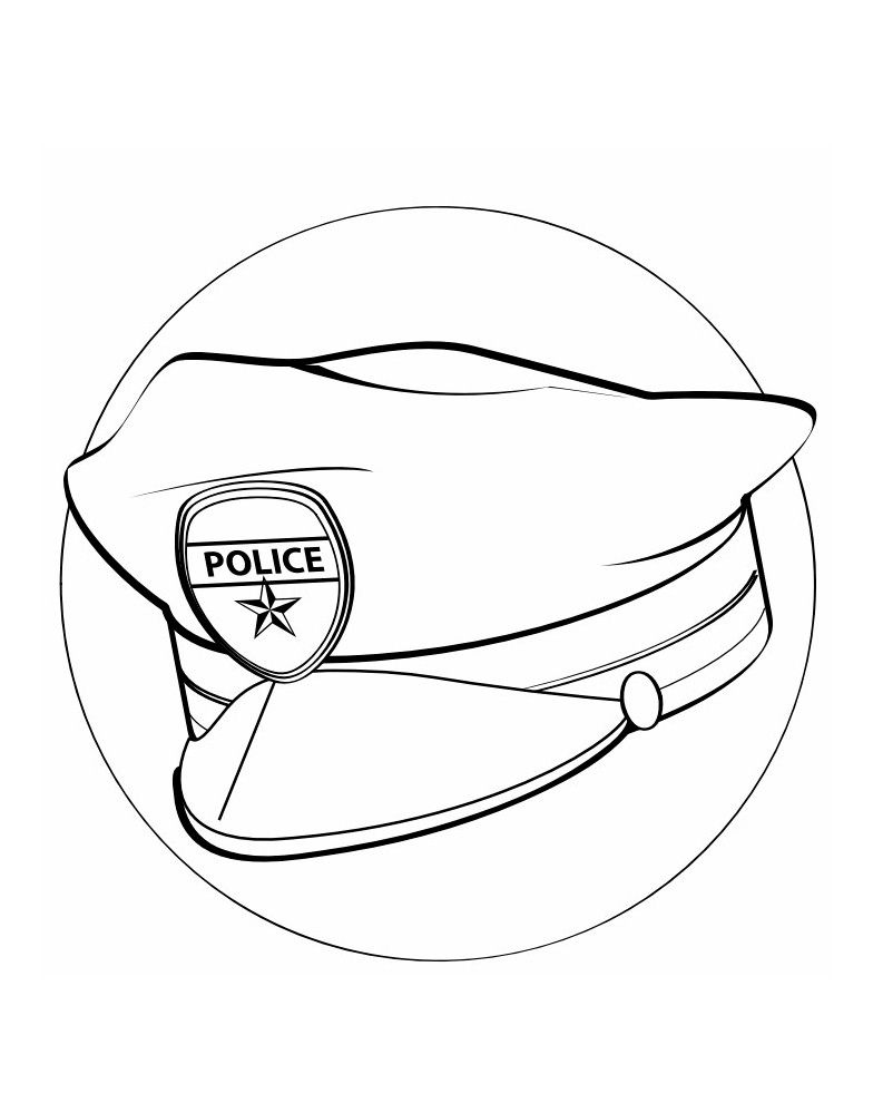 Police Hat Coloring Page For Labor Day | drawing & painting ...