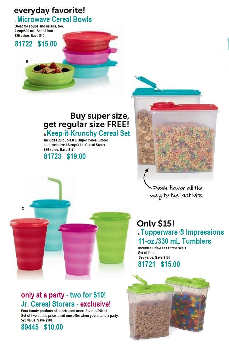 July specials Soup and salad, Cereal bowls, Tupperware