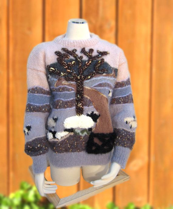 Hand Knit Landscape Sweater with Sheep... | My gift guide ...