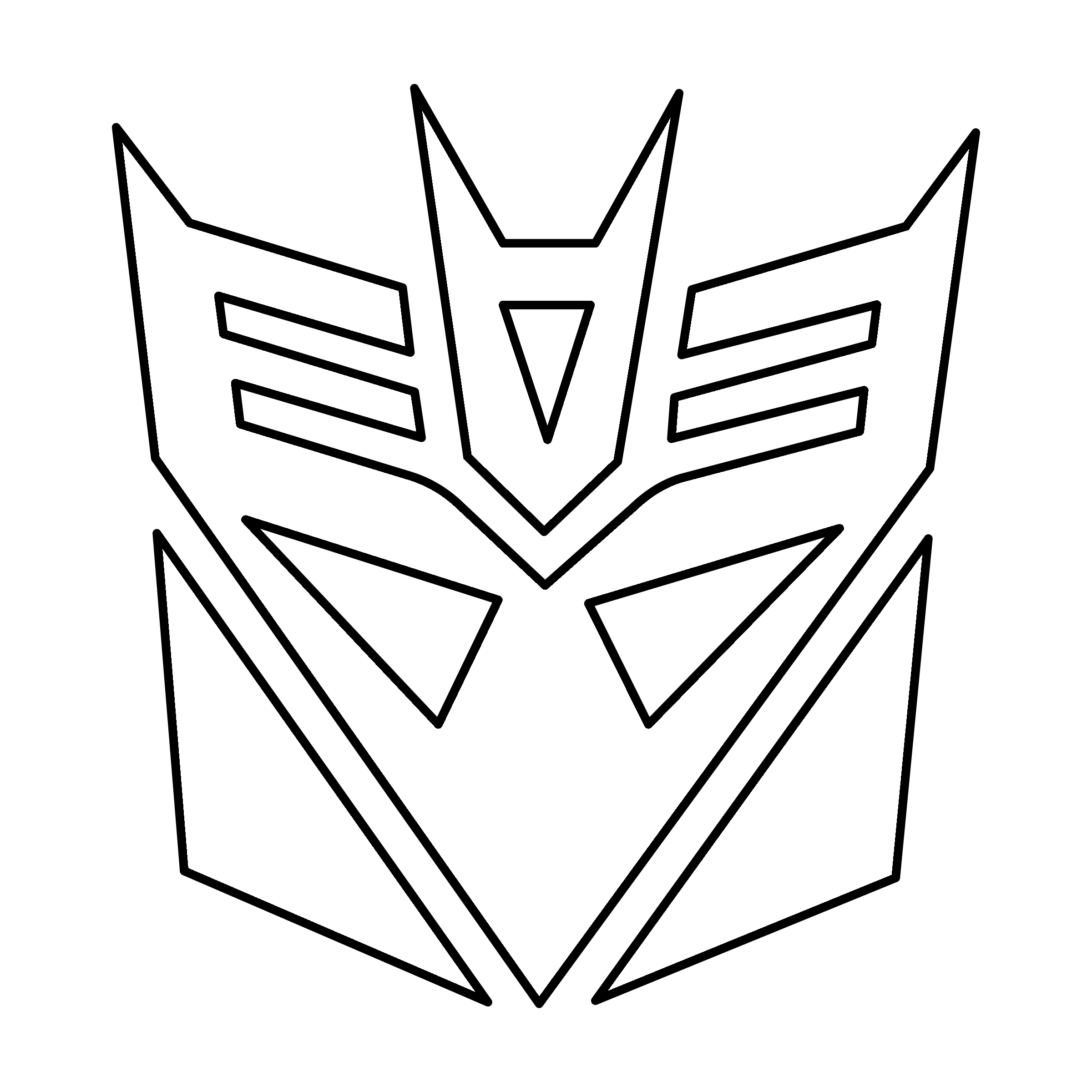 Transformers Decepticon Logo black and white Decepticon