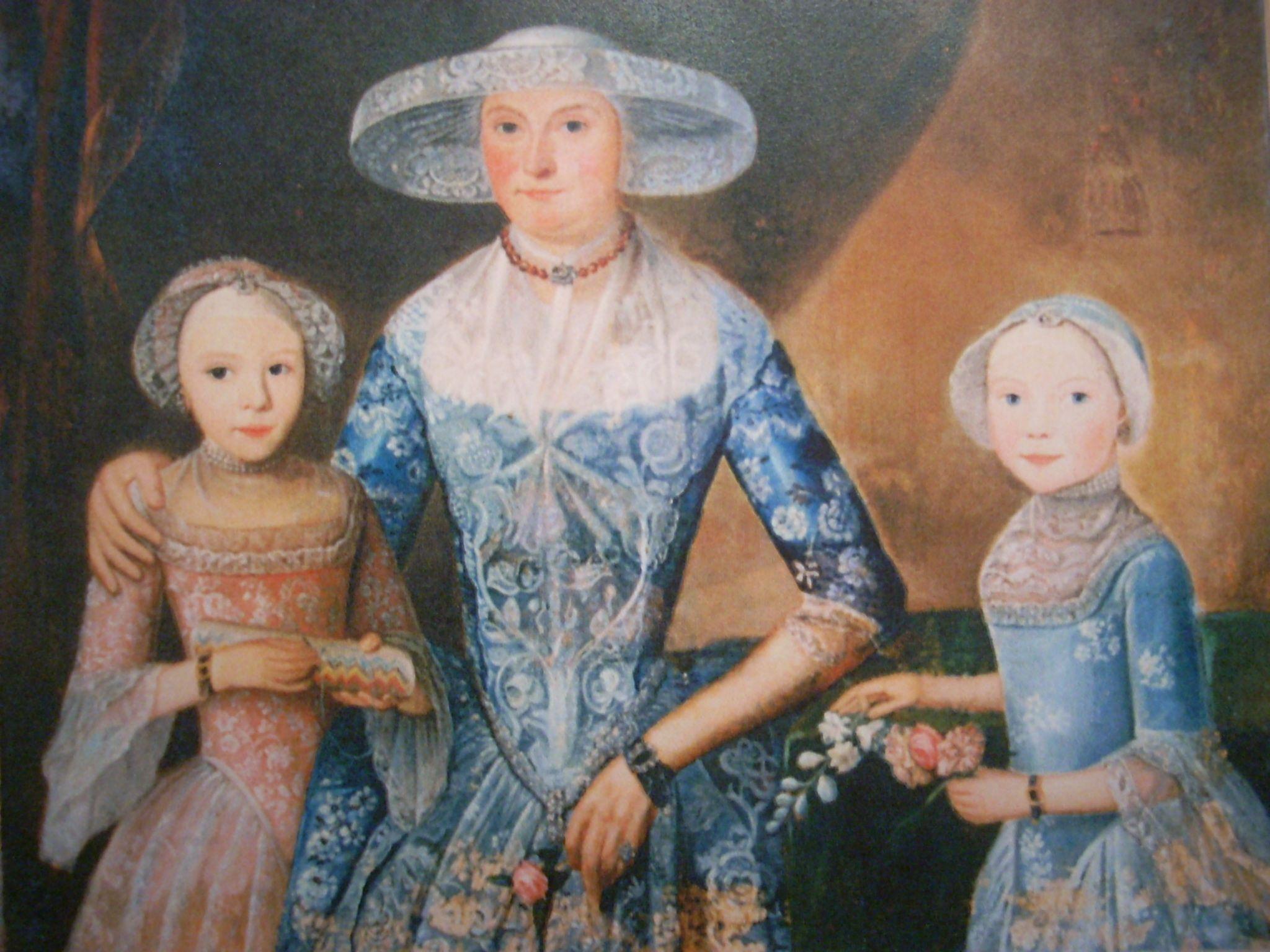 Portret van Elsje Schaaf en haar dochter Grietje en Aafke Talma, geschilderd door Hendricus Antonius Baur ca 1786, part coll