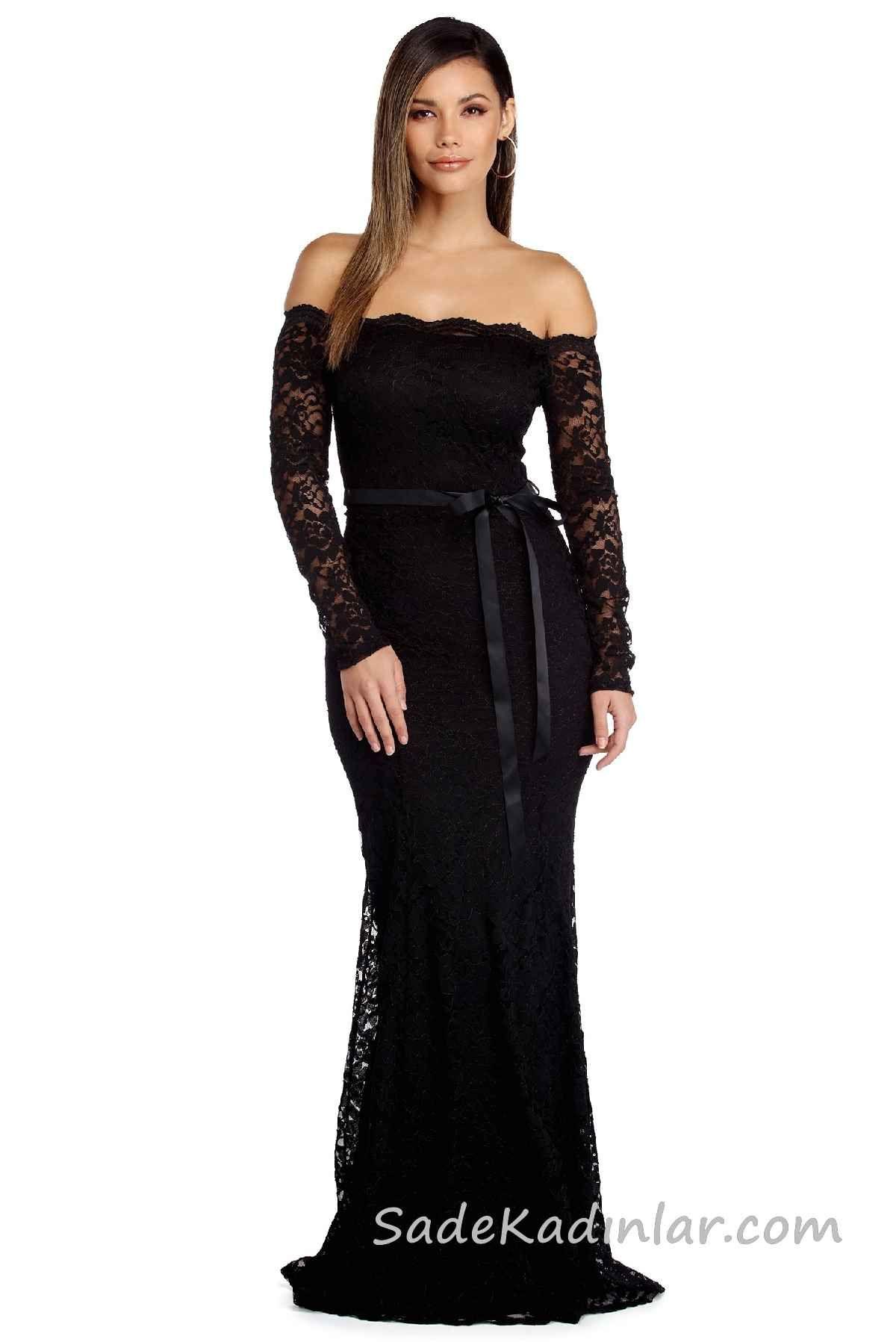 Muhtesem 2020 Abiye Elbise Modelleri Siyah Uzun Omzu Acik Dusuk Kol Dantel Dantel Elbise The Dress Elbise Modelleri