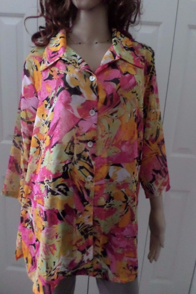 df8af79a658 Slinky Plus Size 1X Button Down Blouse Floral Sheer New WithTags Artsy   SlinkyBrand  ButtonDownShirt