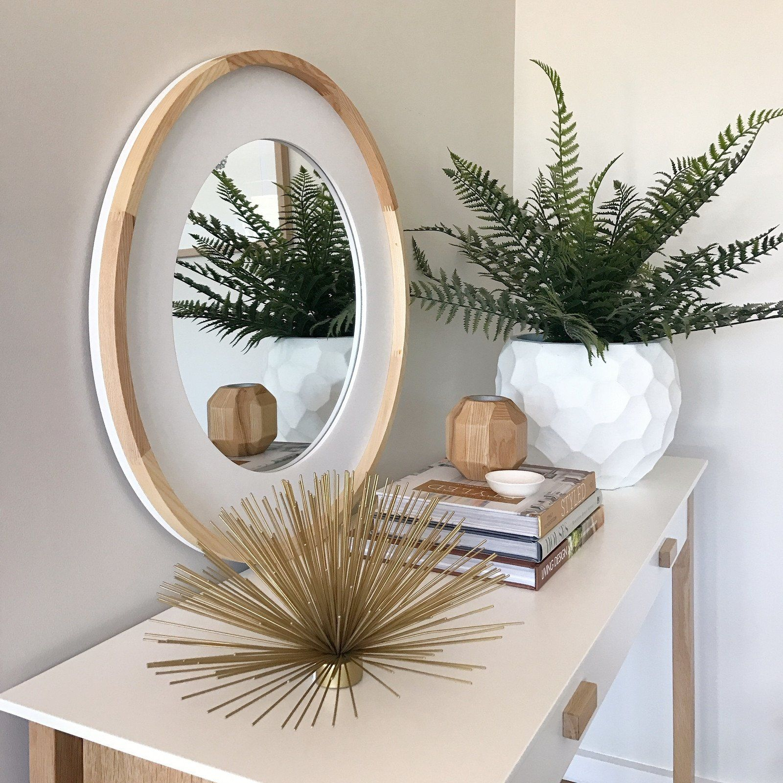 Trianna Natural Wood Round Wall Mirror With Images Round Wall Mirror Mirror Wall Wood Rounds