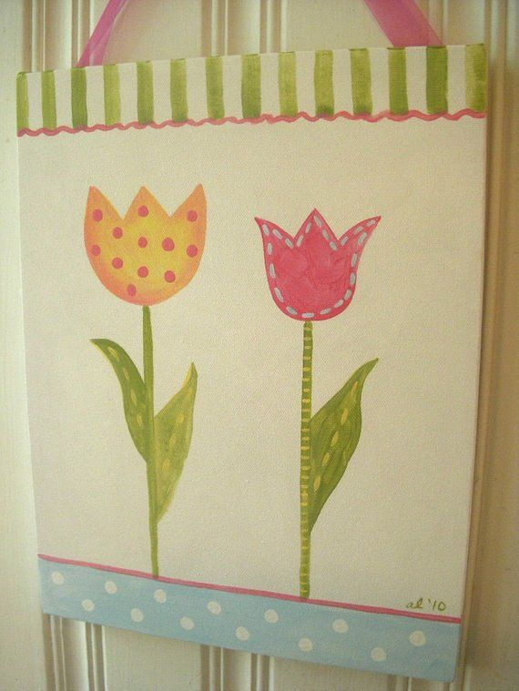 Tulip flowers girls canvas 11 x 14 painting Pink green yellow Kid