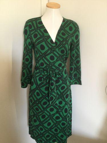 4b059fab5420 DVF-Diane-Von-Furstenberg-Vintage-Julian-Dress-Wrap-Green-Silk-Size ...