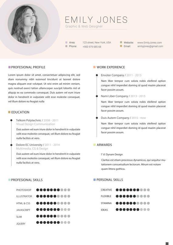 Plantilla de curriculum vitae por DOPstudio en Etsy | Empleo y ...