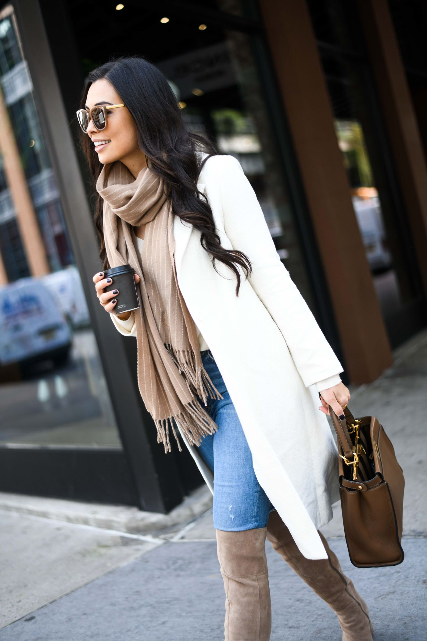 White Coat For Fall By Kat Tanita With Love From Kat White Coat Outfit Fall Fashion Coats Coat Outfits [ 2100 x 1400 Pixel ]